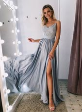 Charming Gray V-Neck Prom Dresses with Lace,Long Split Side Evening Dresses