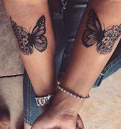 Für Frauen Halbes Schmetterling Tattoo