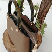 Photo of AkiHaki Suede Snake Leather Shoulder Bag Made of Suede Material  œ …