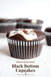 Einfache und leckere Cupcakes mit schwarzem Boden