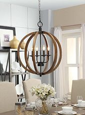 Drexel Curved Wooden Orb 3 Light Chandelier   24 Inch | Chandeliers, Curves  And Lights