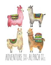 Llama Alpaca Wall Decor Artwork Print / Journey Time / Distinctive Present / Nursery Decor / Child Bathe / Present for Her Him / Finest Pal Present