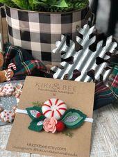 Pfefferminze / / Weihnachten Baby Mädchen Urlaub Haarschleife / / Filz Haarspange Haarspange / / Nylon Stirnband / /