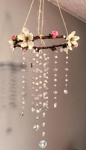Pink & White Shabby Chic Crystal Mobile