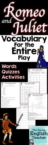 Romeo and Juliet Vocabulary Phrases, Actions and Quizzes