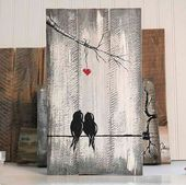 You and Me signs reclaimed wood art 5th birthday gift love bird painting gift wall wood decor wedding christmas gift for couple of wood