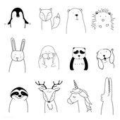 Laden Sie die erstklassige Illustration von Hand gezeichneten Tieren herunter, die ein Weihnachten genießen