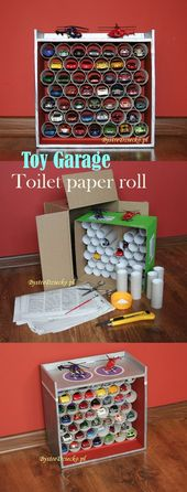 Car garage made from toilet rolls and cardboard boxes