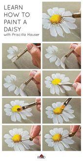 Lernen Sie, wie Sie mit Priscilla Hauser ein Gänseblümchen bemalen können! Super einfache Schritt für Schritt #plai – Malerei