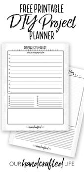 DIY Project Planner – Free Printable Project Planner – Our Handcrafted Life