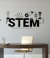Stem Wall Decal Science Technology Engineering Mathematics Education Banner Vinyl Sticker School Int