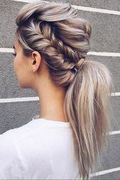Wedding Hairstyles For Long Hair Elegant Braids And Straight Blonde Ponytail Hochzeitsfrisuren Lange Haare Geflochtene Frisuren Hochzeitsfrisuren