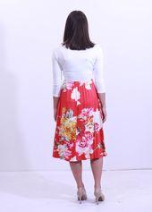 Corinne Dress – Ivory/Red