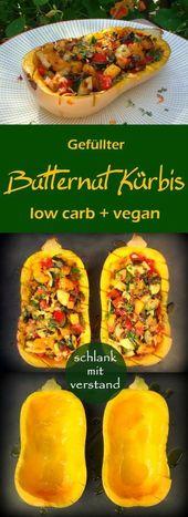 Gefüllter Butternusskürbis Low Carb vegan   – vegane Mittagessen