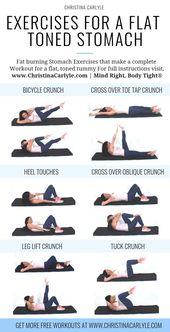 Bauchübungen für ein vollständiges Training mit flachem, kräftigem Kern. christinacar