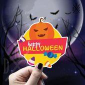 Happy Halloween Candy Vinyl Sticker, Halloween Stickers, Candy Stickers, Decal, Macbook Decal, Stick