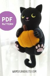 PDF Pattern – Black Cat with Pumpkin Ornament for Halloween Decor, Instant Download File for Pattern and Illustrated Tutorial Felt Black Cat