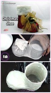 Weihnachten Basteln: DIY Plastikflasche Santa Boots Holder Tutorial – Video, #boot