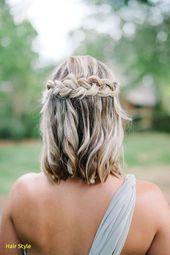 Schöne Hochzeit Frisuren für kurze Haare Braid #hair #wasserfall #zopf #festli… – Haare