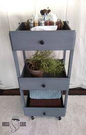 DIY 3 Tiered Chíc Rolling Cart/Side Table-Made From Dresser Drawers ~ Be Boss Chíc