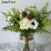 JaneVini 2019 neue elegante weiße Pfingstrose Rose Brautblumen für Hochzeit Boho …   – https://well.girlscare.co