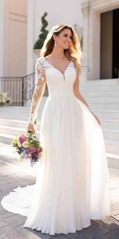 Weiße Brautkleider, lange Ärmel Brautkleider, Spitze Chiffon Brautkleider   – Wedding