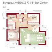 Grundriss Bungalow barrierefrei mit Walmdacharchitektur & Erkererweiterung – 2 Zimmer …   – Anbau Walmdach