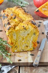 Pumpkin bread with feta cheese