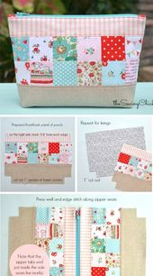 Patchwork Zipper Pocket Tutorial #patchwork #pack # Tutorial #newing
