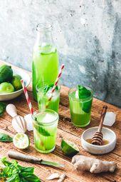 Basilikum Limonade mit Limette und Ingwer   – Drinks