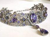 Gothic Choker – Tansanit Swarovski Kristall viktorianischen Braut Silber Choker – Braut Halskette – Gothic Schmuck – Hochzeitsschmuck   – Trinkets