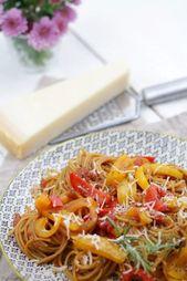 Pasta de una olla con pimientos. Una receta de una olla – día del tulipán   – Pasta | Nudeln Rezepte