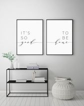 It's So Good To Be Home Printable Sign Set, Bedroom Quote Decor, Living Room, Wall Art Prints, Poster Prints, Instant Digital Download