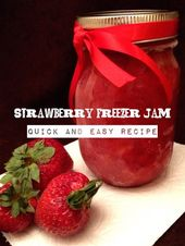 Easy Strawberry Freezer Jam Recipe via Janel at A Mom's Take