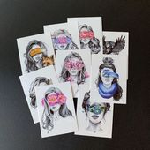 "Temporäre Tattoos im 9er-Set – aus der Kollektion ""Blindfolded"", Art, Woman, Contemporary, Scandinavian – von Polina Bright   – 4pub_lijn-vlak"