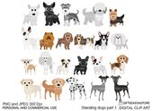 Standing dogs digital clip art part 1 for Personal and Commercial use – INSTANT DOWNLOAD – Pet