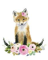 Floral baby fox Watercolor fox Woodland Nursery Ar…