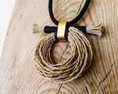 Long statement necklace pendant, rustic fiber jewelry, hemp cord boho necklace, …