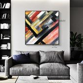 Red and Black Wall Art,Original Abstract Painting, Extra Large wall art, Apartment decor, Big canvas art, Above couch decor by Julia Kotenko