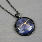 Kintsugi repaired sodalite pendant in black bezel setting on black chain – Products