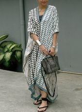 Geometric Ruffles V-Neckline Maxi Shift Costume – Floryday @ floryday.com