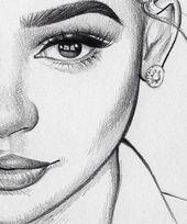 Nahaufnahme von einem weiblichen Gesicht zeichnen, wie man ein Gesicht, volle Lippen und große Augen zeichnen