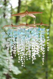 Meer Glas & Seestern Mobile – Kolossale Ombre /Sea Glas mobile, Seeglas mobile, Meer Glas Kronleuchter, Seeglas Windspiel, Meer Glas kunst