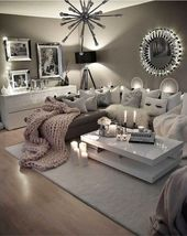 Neutral gray living room – love these colors for my living room! #HomeDecorIdeasP