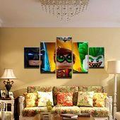 Lego Batman 5 Panel Leinwanddruck Wandkunst – #Batman #lego #Can Print #Panel …   – lego illustration