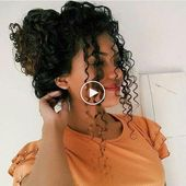 Curly bun hairstyles, romantic curly girl hairstyle ideas, cute hairstyles for n…