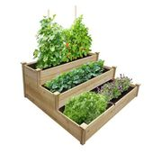 Greenes Fence 4 ft. x 4 ft. x 21 in. Unfinished (0.5 in. to 0.625 in. T) 3-Tiered Value Cedar Raised Garden Bed, Natural