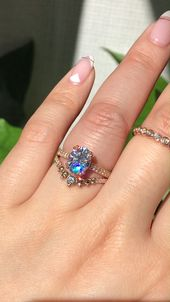 Moissanite Solitaire Bridal Ring Set by La More Design