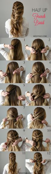 Half Up French Braid – Kurz Haar Frisuren