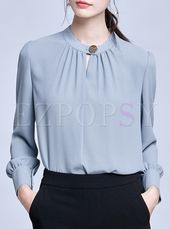 Transient Pure Shade Stand Collar Lengthy Sleeve Shirt